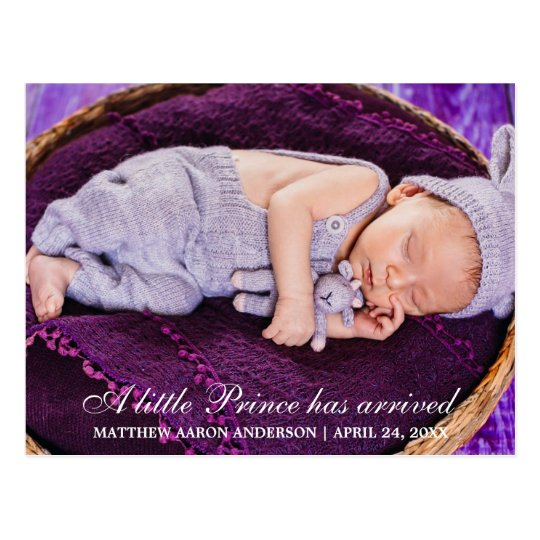 Little Prince New Baby Photo Announcement Postcard