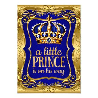 Little Prince on his way Baby Shower Gold Blue 13 Cm X 18 Cm Invitation Card