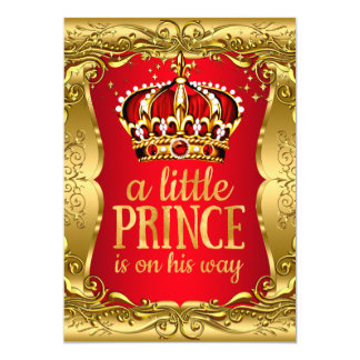 Little Prince on his way Baby Shower Gold Red 13 Cm X 18 Cm Invitation Card