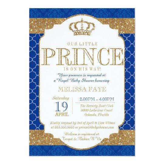 Little Prince Royal Blue Gold Baby Shower Card Zazzlecouk
