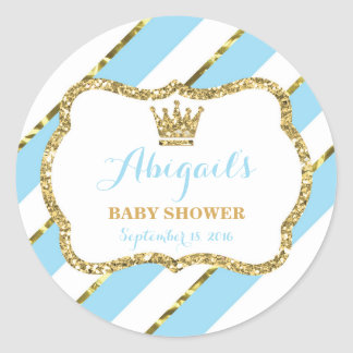 Little Prince Sticker, Baby Blue, Faux Glitter Classic Round Sticker