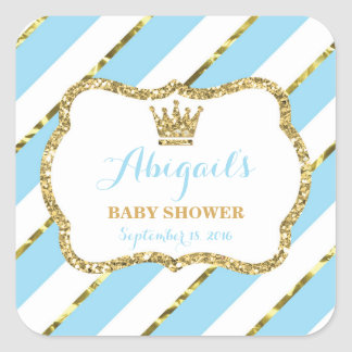 Little Prince Sticker, Baby Blue, Faux Glitter Square Sticker