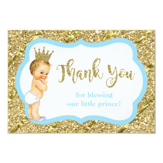 Little Prince Thank You Card, Blue, Faux Glitter Card