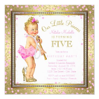 Little Princess 5th Birthday Party 13 Cm X 13 Cm Square Invitation Card