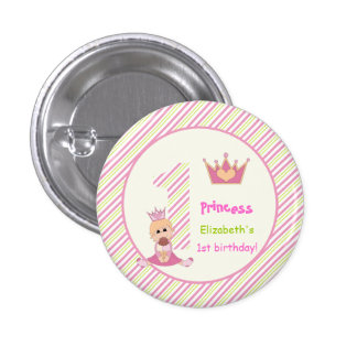 Little princess and crown girls 1st birthday pink 3 cm round badge