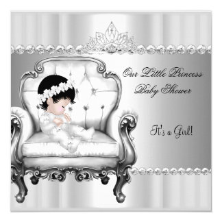 Little Princess Baby Shower Girl Baby on Chair 5.25x5.25 Square Paper Invitation Card