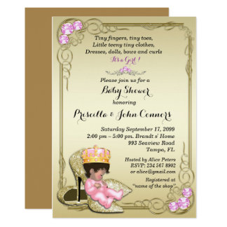 Little Princess Baby Shower Invitation,gold Card