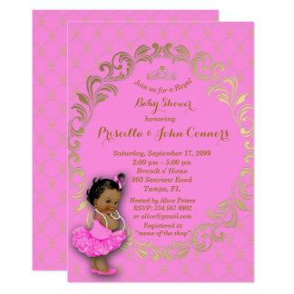 Little Princess Baby Shower Invitation,gold,pink 2 Card