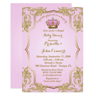 Little Princess Baby Shower Invitation, gold, pink Card
