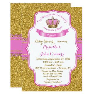 Little Princess Baby Shower Invitation,gold,pink Card