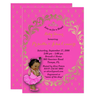 Little Princess Baby Shower Invitation,hot pink Card