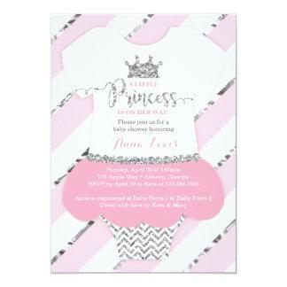 Little Princess Baby Shower Invite, Faux Glitter 13 Cm X 18 Cm Invitation Card