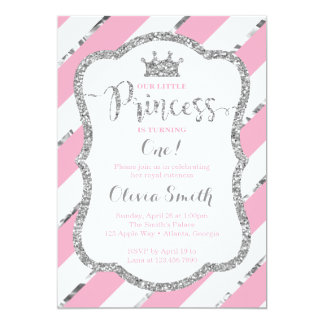 Little Princess Birthday Invitation Pink & Silver
