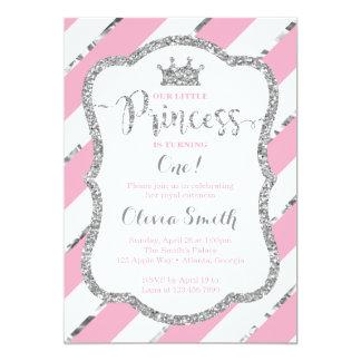 Little Princess Birthday Invitation Pink & Silver