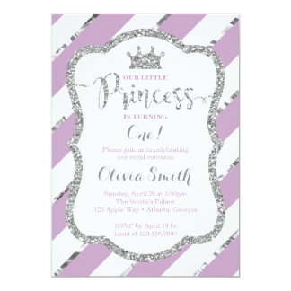 Little Princess Birthday Invitation Purple Silver