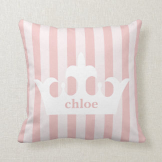 Little Princess Crown Pink Striped Nursery Cushion