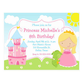 Little Princess & Dragon Birthday Invite Postcard