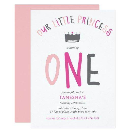 Little Princess First Birthday Party Invitation