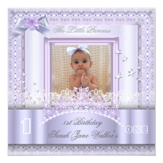 Little Princess First Birthday Party Photo Lilac 2 Card