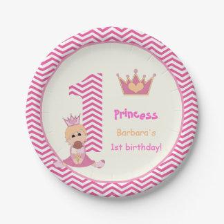 Little princess girls 1st birthday chevron border 7 inch paper plate
