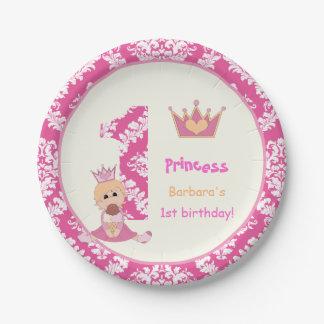 Little princess girls 1st birthday hot pink damask 7 inch paper plate