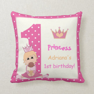 Little princess, girls 1st birthday pink polka dot cushion