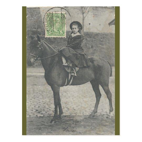 Little princess Hilda riding sidesaddle #041SS Postcard