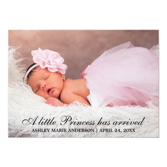 Little Princess New Baby Photo Announcement Card