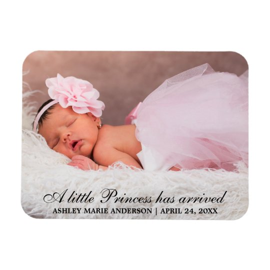 Little Princess New Baby Photo Announcement Magnet