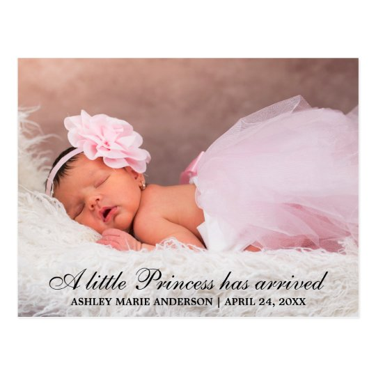 Little Princess New Baby Photo Announcement Postcard