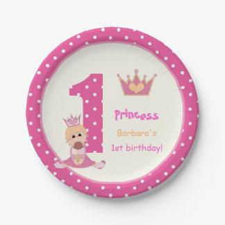 Little princess pink polka dot girls 1st birthday 7 inch paper plate