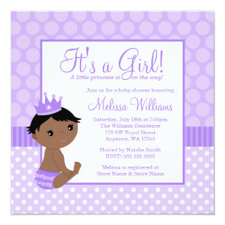 Little Princess Purple Polka Dot Girl Baby Shower 5.25x5.25 Square Paper Invitation Card