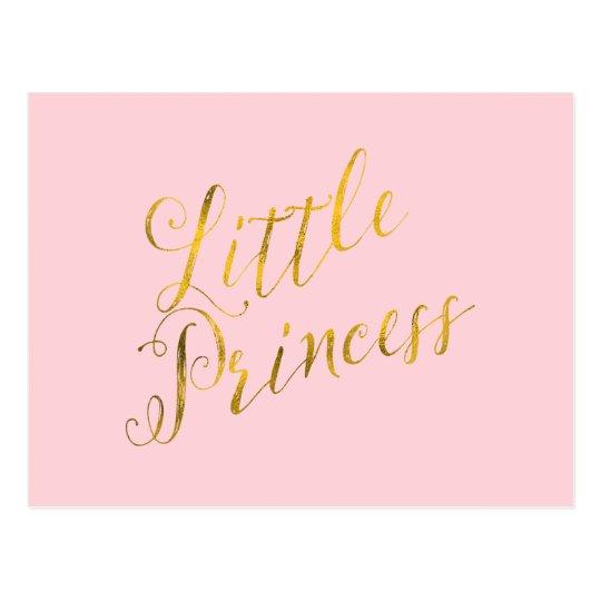Little Princess Quote Faux Gold Foil Glitter Pink Postcard