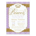 Little Princess Royal Purple and Gold Baby Shower 13 Cm X 18 Cm Invitation Card