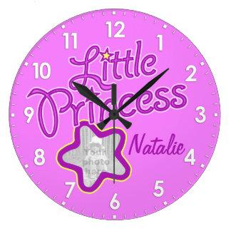 Little princess star photo pink girls wall clock