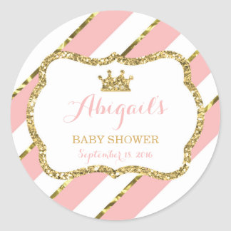Little Princess Sticker, Pink, Faux Glitter Classic Round Sticker