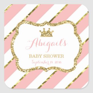 Little Princess Sticker, Pink, Faux Glitter Square Sticker
