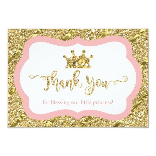 Little Princess Thank You Card, Pink, Faux Glitter