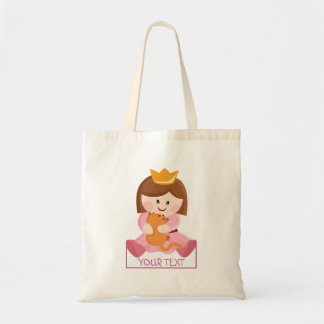 Little princess with cat brown hair budget tote bag