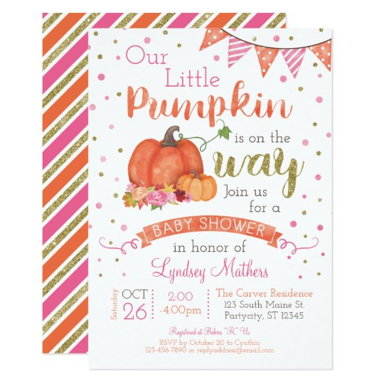 Little Pumpkin Autumn Fall Baby Shower Invitation