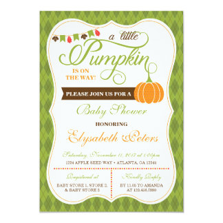 Little Pumpkin Baby Shower Invitation, Fall Card