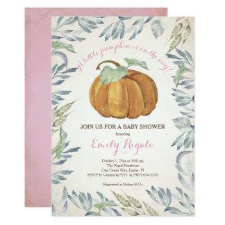 Little Pumpkin Baby Shower Invitation, Girl Card