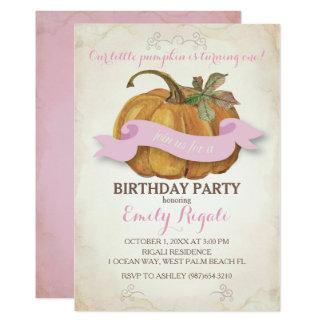 Little Pumpkin Birthday Party Invitation - Girl