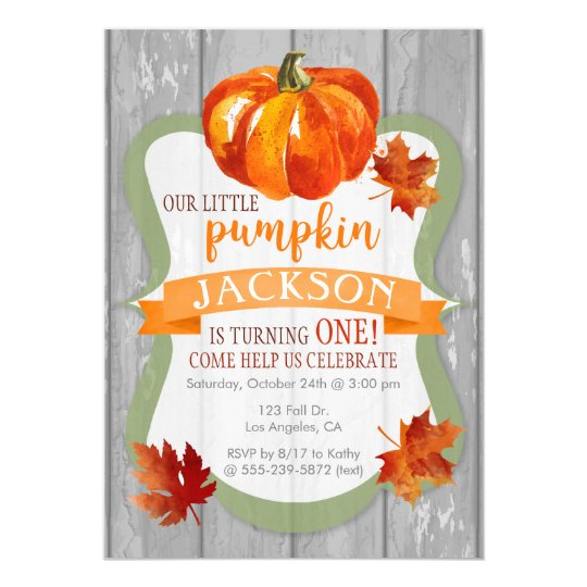 Little Pumpkin Boy's Autumn Birthday Invitation