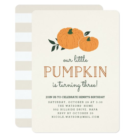 Little Pumpkin Fall Birthday Party Invitation