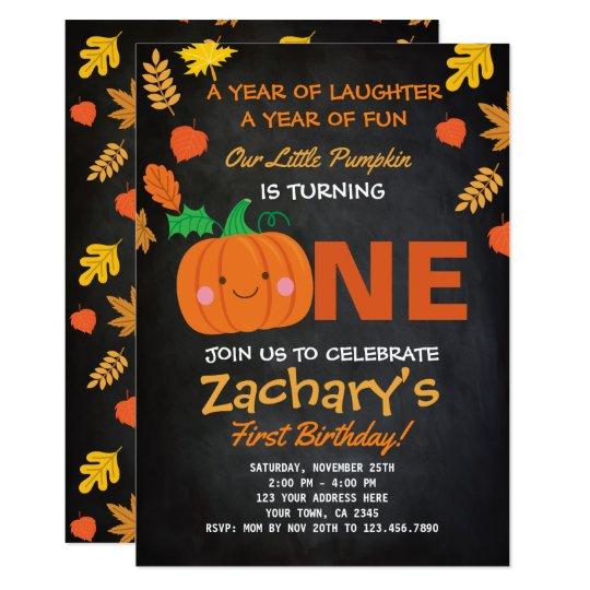Little Pumpkin First Birthday Invitation, Black Card