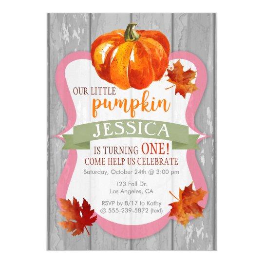 Little Pumpkin Girl's Autumn Birthday Invitation