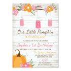 Little Pumpkin Mason Jars Fall Girl First Birthday Card