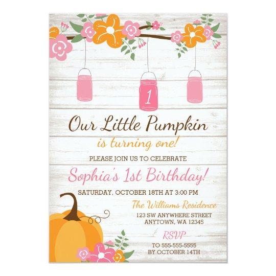 Little Pumpkin Mason Jars Fall Girl First Birthday