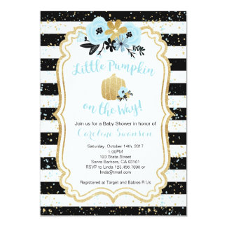 Little Pumpkin on the Way- Blue and Gold- Boy Card